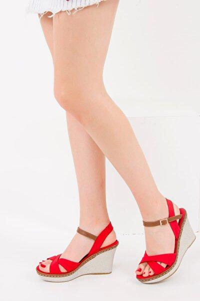 Kırmızı Kadın Dolgu Topuklu Ayakkabı 9674040205