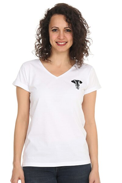 Kadın Beyaz Organik Fil Beyaz V Yaka T-Shirt M NNBO1008