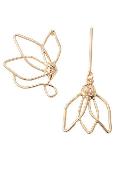 Gold Tasarım Çiçek Küpe