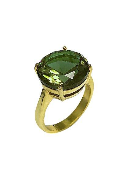 Kadın Yeşil Yuvarlak Model Altın Kaplama Zultanit Taşlı Gümüş Yüzük 2020513