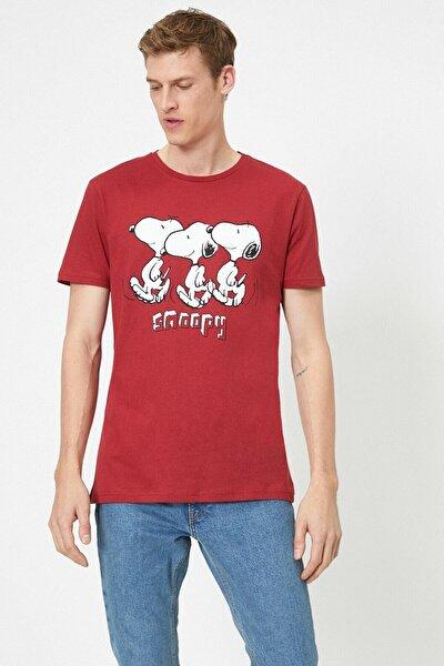 Erkek Snoopy Lisansli Baskili T-shirt 0YAM11952CK