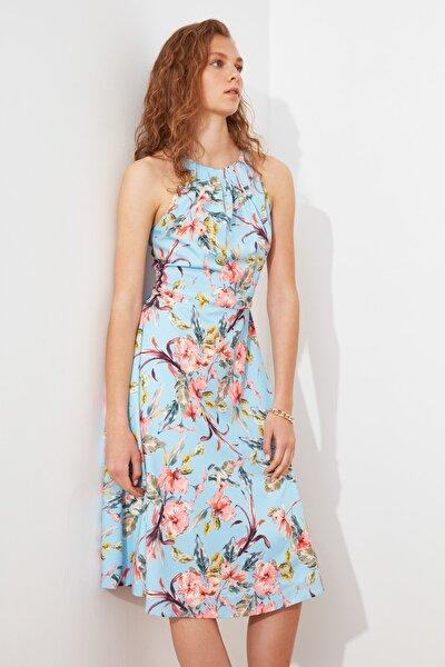 Mavi Volanlı Elbise TWOSS21EL1676