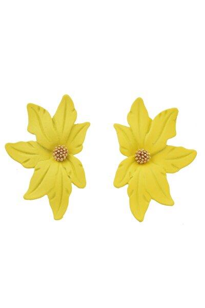 Sarı Yarım Çiçek Küpe