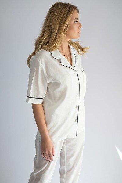 Keten Biyeli Kısa Kollu Üst - Şort Pijama Takım