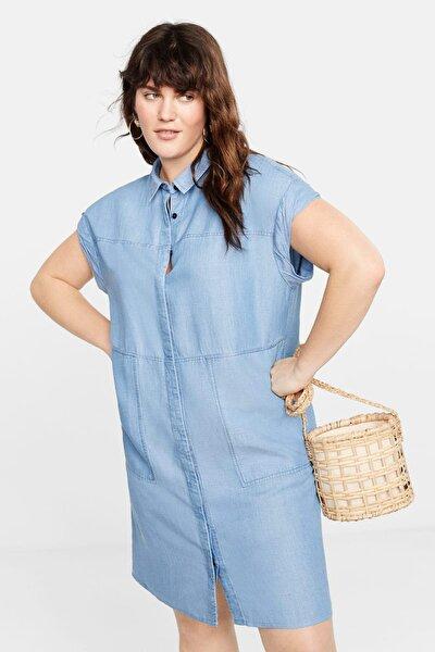 Kadın Açık Mavi Denim Tarz Yumuşak Elbise 51050578