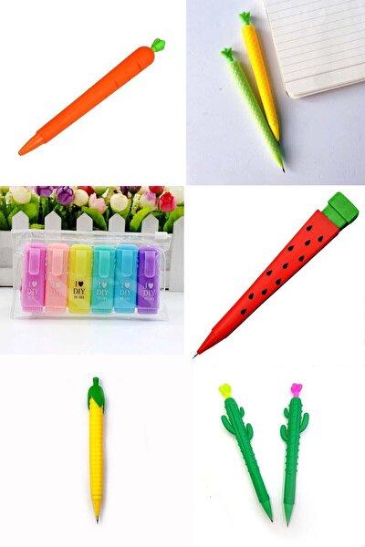 I Love Dıy Mottolu 6'lı Mini Fosforlu Kalem Ve 5'li 0.7 Uçlu Versatil Kalem Seti