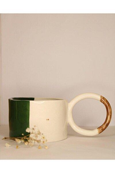 Yeşil Ve Beyaz El Yapımı Seramik Kupa
