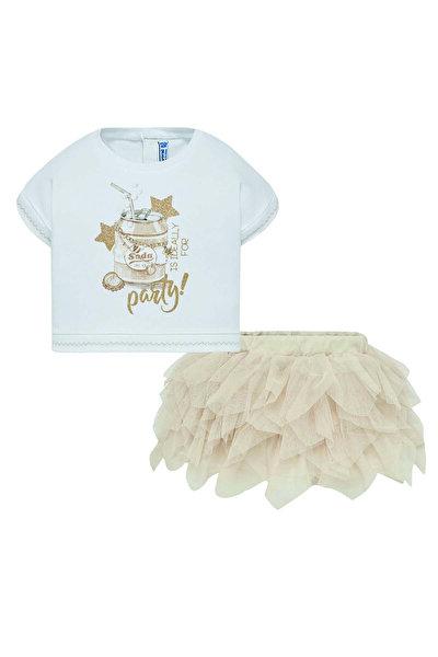 Krem Kız Çocuk 2'Li Bluz Ve Etek Takım