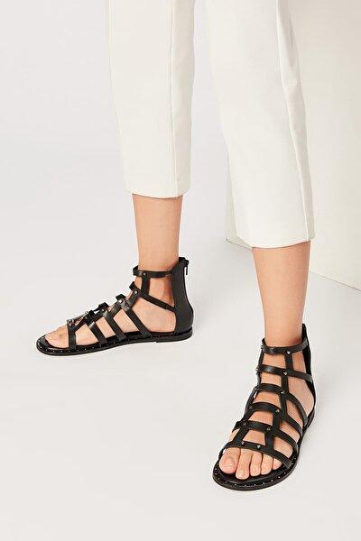 Hakiki Deri Siyah Kadın Sandalet 120120520010