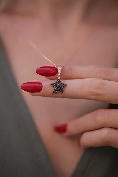 Kadın Yıldız Model Siyah Zirkon Taşlı Rose Kaplama Gümüş Kolye PKT-İZLASLVR00652
