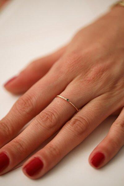 Kadın Zümrüt Taşlı Rose Kaplama Gümüş Minimal Yüzük İZLASLVR00089