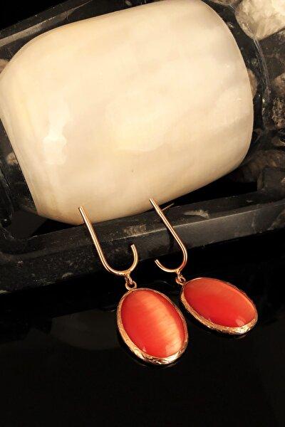 Dr Stone Doğaltaş Kadın Kedigözü Taşı Rose Altın Kaplama Küpe KRB349