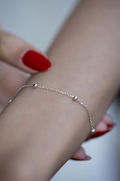 Kadın Top Model Gümüş Zincir Bileklik İZLASLVR00358