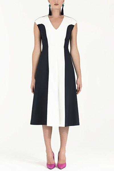 Kadın V Yaka Kontrast Pamuk Elbise Lacivert-Ekru 91473