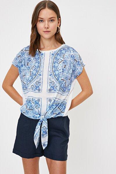 Kadın Mavi Bisiklet Yaka Kısa Kollu T-Shirt 9YAK13416EK