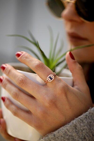 Kadın Safir Taşlı Zincir Model Rose Gümüş Yüzük İZLASLVR00048