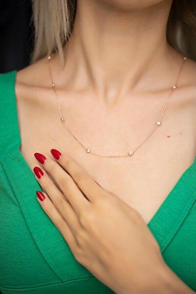 Kadın Zirkon Taşlı Rose Kaplama Gümüş Kolye İZLASLVR00497