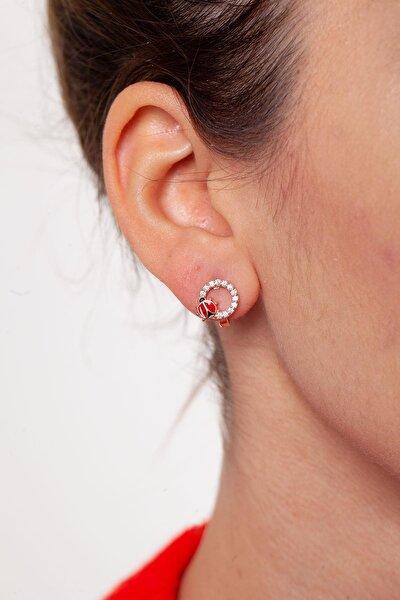 Kadın Uğur Böceği Model Rose Kaplama Gümüş Küpe NNVSLVR03139