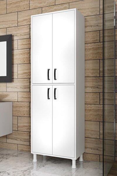 F1 Çok Amaçlı Dolap 4 Kapaklı 6 Raflı Banyo Balkon Mutfak Dolabı Beyaz M4