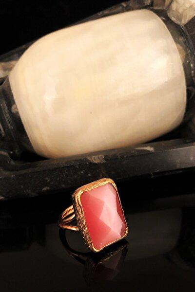 Dr Stone Doğaltaş Kadın Kedigözü Taşı Rose Altın Kaplama Yüzük KRB343