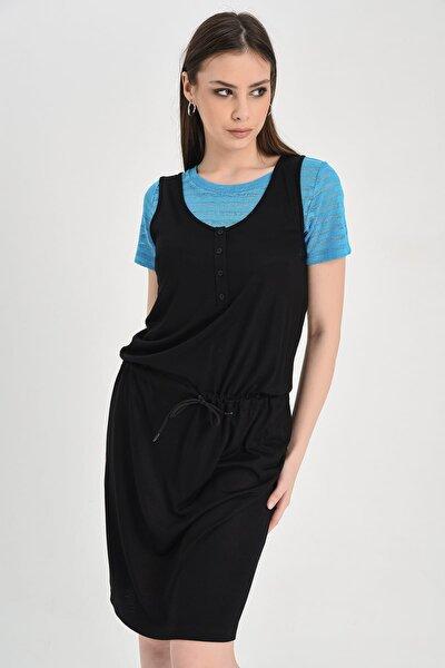 Kadın Siyah Kolsuz Düğme Detaylı Belden Bağlamalı Elbise HN942
