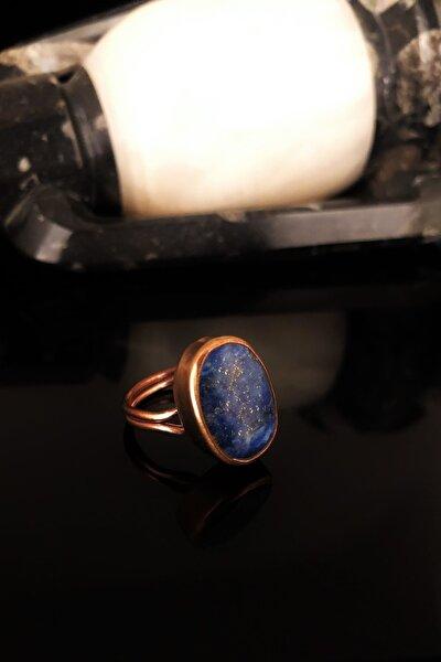 Dr Stone Doğaltaş Kadın Lapis Lazuli Taşı Rose Altın Kaplama Yüzük KRB373