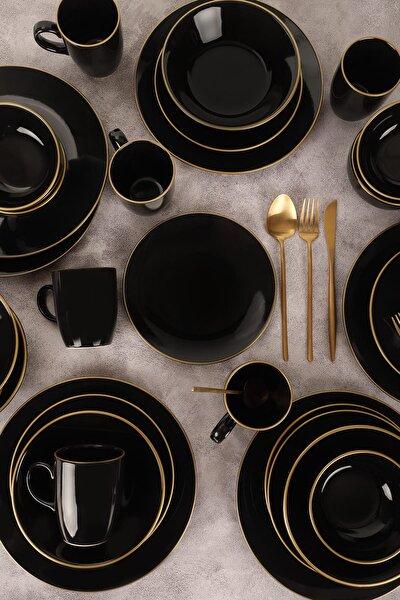 Ege Siyah Gold Yemek Takımı 30 Parça 6 Kişilik
