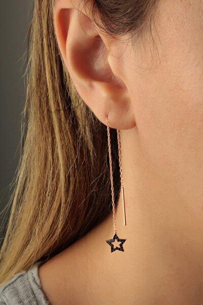 Kadın Siyah Yıldız  Sallantılı Zincir Küpe - Rose KP-0255