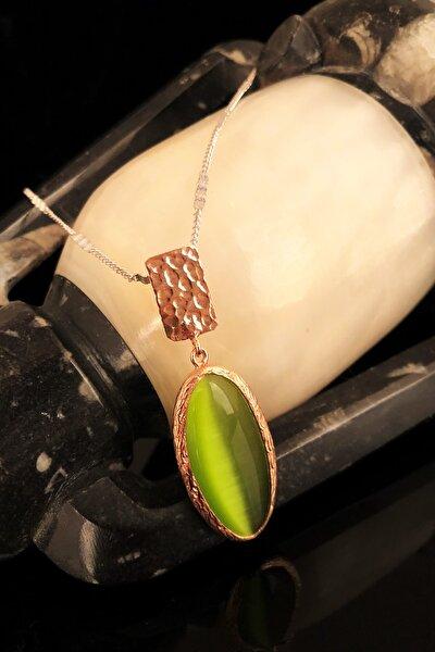 Dr Stone Doğaltaş Kadın Kedigözü Taşı Rose Altın Kaplama Kolye KRB330