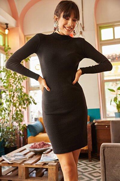 Kadın Siyah Likralı Şardonlu Kaşkorse Elbise ELB-19000751