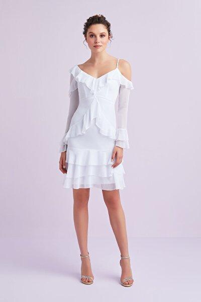 Kadın Beyaz Uzun Kollu Farbalalı Şifon Kısa Nikah Elbisesi VC5068WHT