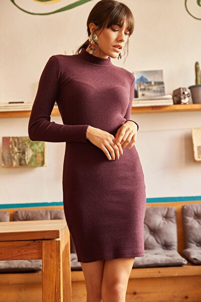 Kadın Mürdüm Likralı Şardonlu Kaşkorse Elbise ELB-19000751