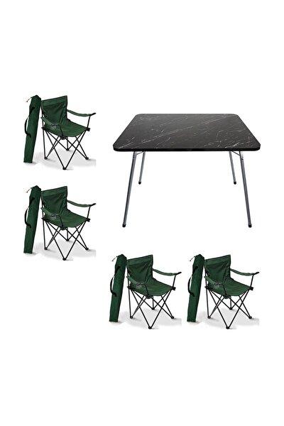 60x80 Granit Katlanır Masa + 4 Adet Kamp Sandalyesi Katlanır Sandalye Piknik Plaj Sandalyesi Yeşil