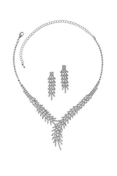 Gümüş Kaplama Çınar Modeli Kolye Küpe Takı Seti PS0485