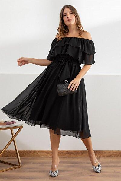 Kadın Siyah Karmenim Şifon Elbise fw991201794eb