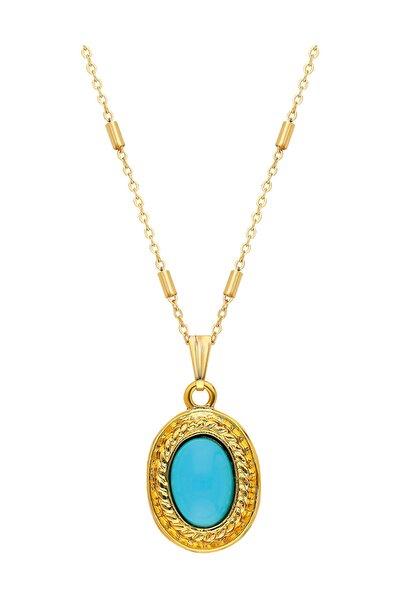 Altın Kaplama Kadın  Mavi Taşlı Tasarım Kolye PS0617