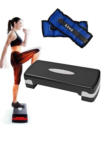Step Tahtası 2 Kademeli iki Kademeli Step Spor Aleti, 0.5Kgx2Adet El Ayak Bilek Ağırlığı