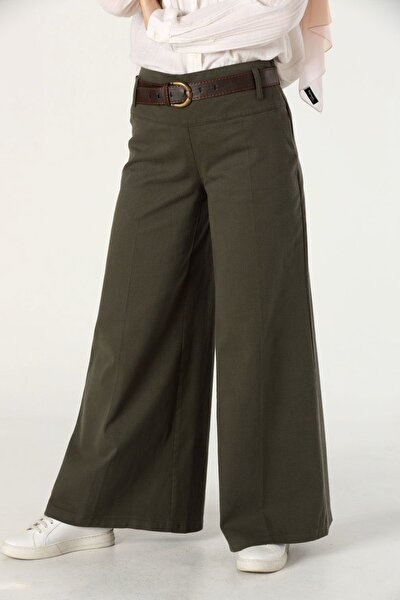 Kadın Haki Bol Paça Korsajlı Pantolon 5064