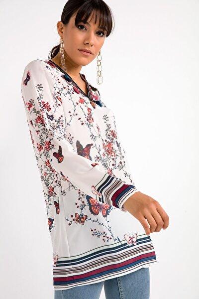 Kadın Ekru Yakası Püsküllü Kelebek Desen Krep Şifon Bluz Ekru S-20K1690004
