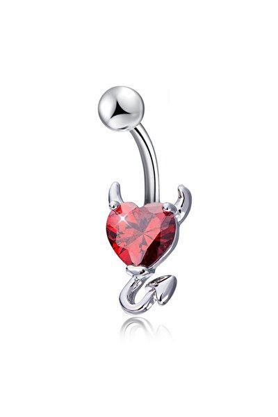 Kırmızı Kalp Taşlı Şeytan Çelik Göbek Piercing dt70kr