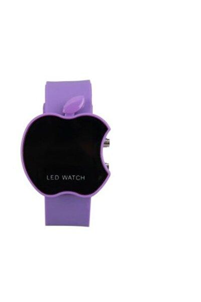 Apple Elma Şeklinde Dijital Led Bileklik Kol Saati - Mor Led Watch