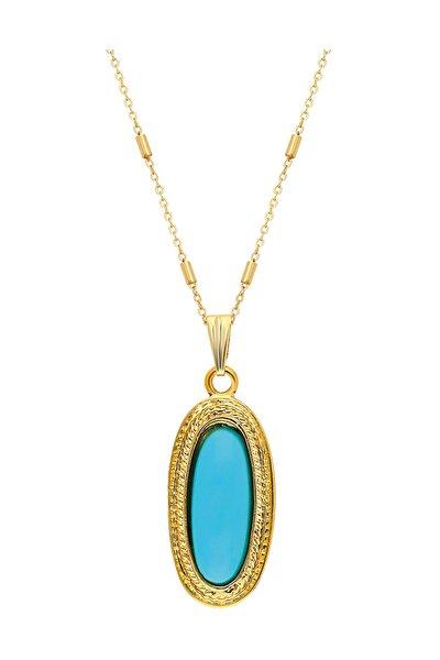 Kadın  Altın Kaplama Mavi Taşlı Tasarım Kolye PS0615