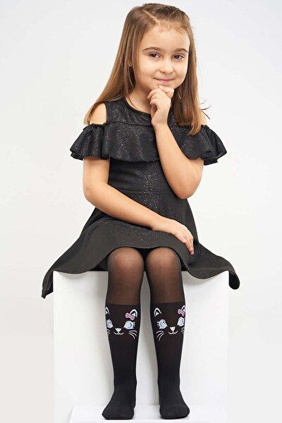 Siyah Kız Çocuk Külotlu Çorap Maviş Kedi 5140