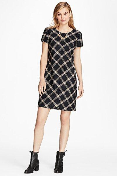 Kadın Lacivert Geomentrik Desenli Yün Elbise