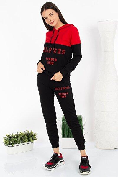 Kadın Kırmızı/Siyah Selfwho Baskılı Kapüşonlu Takım D2957