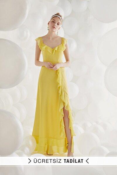 Kadın Sarı Şifon Askılı Uzun Elbise VC5078