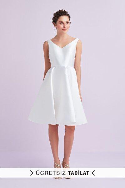 Kadın Beyaz Askılı Saten Kısa Nikah Elbisesi VC3998WHT