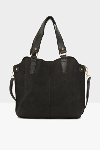 Siyah Kadın Üç Bölmeli Çıtçıt Detaylı Nubuk Çanta M000003554