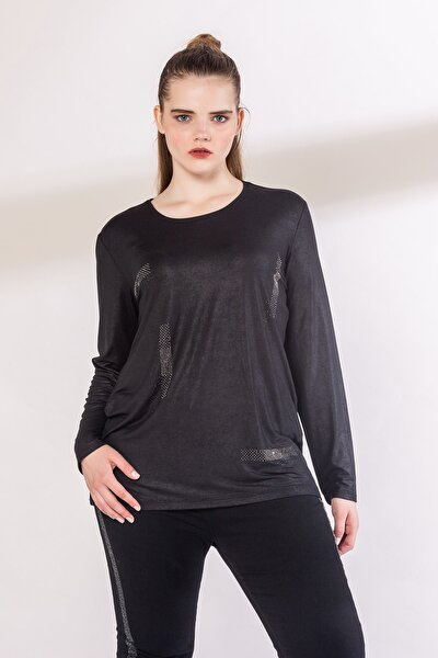 Kadın Siyah Taş Detaylı Bluz 6851