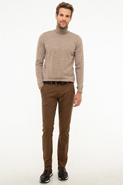 Erkek Camel Slim Fit Chino Pantolon